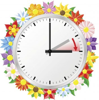 vector illustration of a clock switch to summer time  daylight saving time begins